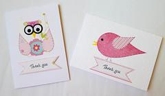 Pink bird thank you cards (crafty Kath) Tags: handmade thankyou owl bird pink