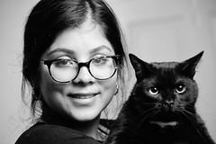 Abina with Kaali Cat (BimalNepal) Tags: abinanepal abina anjana anjananepal cat kaali kali glasses bnw black white