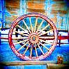 Twenty Mule Team Wagon Wheel (EmperorNorton47) Tags: deathvalleynationalpark harmonyboraxworks california furnacecreek photo analog film spring squareformat wagon wagonwheel desert mine worldheritagesite unesco nps kodakportra