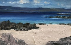 Towards the Mull of Kintyre 40 x 28 cm oil on paper - for sale (www.sandragraham.co.uk) Tags: art arran artwork artartworkartistartistscontemporaryartcollectorstreambrookburnwaterflowingnaturepaintingartistsimpastopainting british artist landscape seascape oil impasto sea sun scotland
