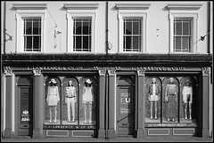 J.Lawrence & Co (Jason 87030) Tags: 35 37 northampton coffee shop cafe bkery bakers bread cakes stgilesst town northants northamptonshire building architecture black white mono noir blanc bw bbw women models windows dress shopping scene uk closed tolet april 2018