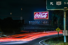 don't drink and drive (pbo31) Tags: bayarea california nikon d810 color may 2018 spring boury pbo31 sanfrancisco city urban night dark black lightstream traffic motion roadway soma cocacola sign led ramp 101 south red highway