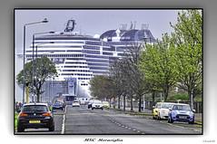 The MSC Meraviglia (The Jacobite) Tags: ocean sea ship liner largest greenock esplanade terminal dock west scotland tamron canon car