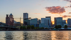 EastBank Portland (Aaron A Baker) Tags: portland east bank espalade escalade sunset pink yellow city scape ap photo class columbia river water reflection golden waves current