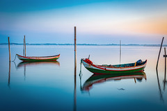 Twin brothers (Artur Tomaz Photography) Tags: aveiro le moliceiro torreira yellow barco blue boat colors mirror ria river sea sunrise water