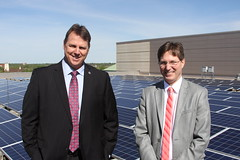Senators Frentz and Eken at the Rooftop Solar Panels
