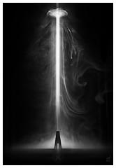 Close Encounter (picturedevon.co.uk) Tags: daymark scifi bw mono blackandwhite fineart abstract ufo light tower future smoke spaceship travel night canon retro landmark alien wwwpicturedevoncouk