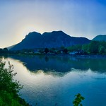 River Inn with sunrise behind Kaiser mountains in Tyrol, Austria thumbnail