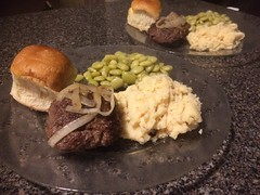 Hamburger steak (stevenbr549) Tags: food dinner dish hamburger steak onions mashed potatoes butter peas roll