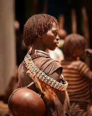 Hamar Woman (Rod Waddington) Tags: africa african afrique afrika äthiopien ethiopia ethiopian ethnic etiopia ethnicity ethiopie etiopian omovalley omo outdoor omoriver hamer hamar tribe traditional tribal culture cultural woman streetphotography candid beads calabash