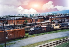 Steamtown National Historic Site - Scranton Pennsylvania  -  Vintage Photo (Onasill ~ Bill Badzo) Tags: steamtown scranton pa pennsylvania nationalhistoric site vintage old photo museum railroad nhs heritage yards downtown delaware lackawanna dlw western turntable roundhouse onasill nrhp historical manufacturing locomotives luzernecounty attractonsite sunset sky clouds