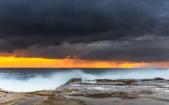 Cloudy Sunrise Seascape from Rock Platform (Merrillie) Tags: daybreak landscape nature dawn terrigal waves waterscape water terrigalhaven newsouthwales clouds earlymorning nsw sunrise sky ocean morning sea rocky coastal rocks outdoors seascape coast centralcoast cloudy australia