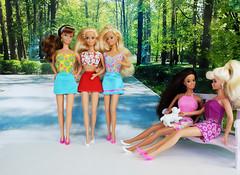 Angel Princess Barbie, Little Debbie, Dream Bride, Western Fun Barbie, Party Time Teresa dolls (alenamorimo) Tags: barbie barbiedoll dolls barbiecollector summer park superstar