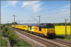 67023, Murcott (Jason 87030) Tags: skip colas yellow orange rape field lineside ts location murcot wcml northamptonloop longbuckby derby rtc testtrain stella sky weather northants northamptonshire loco diesel ugly bad poor livery terrible dreadful wires tracks may 2018 canon railway engine euston london