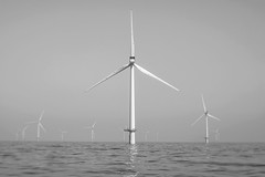 Take Me To Your Leader! (Sean Sweeney, UK) Tags: rampion wind farm offshore off shore turbine turbines windpower sea ocean sky brighton east sussex england english channel water industry machinery plant structure mechanical generator electricity blackandwhite bw monochrome black white tiltshift tilt shift horizon blades nikon d810 dslr
