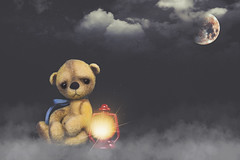 button does not like foggy nights (rockinmonique) Tags: button tinybear toy teddybear composite yellow red light moon fog cloud macro moniquew canon canont6s tamron tamron45mm copyright2018moniquewphotography