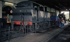 LMS 3F 0-6-0T in Cranmore Engine Shed, 28 Jul or 3 Aug 1985 (Ian D Nolan) Tags: esr prinzflashmaticgt7 35mm epsonperfectionv750scanner railway cranmorewest lms 3f 47493 station