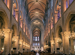 Notre-Dame Cathedral (szeke) Tags: church interior architecture paris france notredame religious temple ceiling vault cathedral column historic