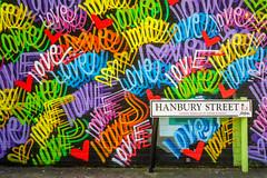 Hanbury Street (ShrubMonkey (Julian Heritage)) Tags: london street mural art streetart urban graffiti bricklane wall colour hanburystreet love towerhamlets e1 chrisriggs