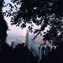 hong kong skyline (pelado.) Tags: portra400 120 film 6x6 mamiyac330 travel hongkong skyline buildings city cityscape view sunset