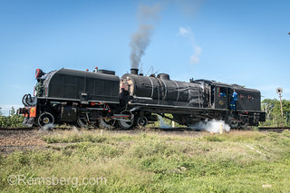 A Garratt steam locomotive crossing the Victoria Falls Bridge. Zimbabwe