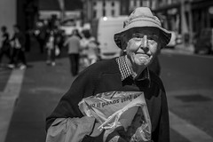 The Sun Has Got His Hat On (Leanne Boulton) Tags: hat urban street candid portrait portraiture streetphotography candidstreetphotography candidportrait streetportrait eyecontact candideyecontact streetlife old elderly man male eyes face expression mood sunshine summer stubble tone texture detail depthoffield bokeh naturallight outdoor light shade shadow city scene human life living humanity society culture people canon canon5d 5dmkiii 70mm ef2470mmf28liiusm black white blackwhite bw mono blackandwhite monochrome glasgow scotland uk