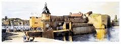 Concarneau - Bretagne - France (guymoll) Tags: concarneau bretagne france googleearthstreetview port citadelle harbour boats bateaux aquarelle watercolour watercolor plume pen panoramique panoramic