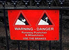 unusual hazards to look out for on station platform! (por2able) Tags: t189 dartmouthsteamrailway danger warning runawaypushchairswheelchairs greenhamhalt devon