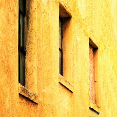 yellow inclination (msdonnalee) Tags: window ventana janela fenster finestra fenêtre wall muuro muro yellow giallo jaune gelb amarillo plywood