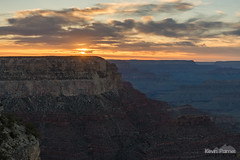 Yavapai Sunset (kevin-palmer) Tags: grandcanyon grandcanyonnationalpark nationalpark arizona southrim nikond750 april spring yavapaipoint sunset evening color colorful clouds gold golden yellow orange scenic view sun sky tamron2470mmf28 hdr cliffs