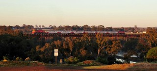 P15-train-P14 cross the Melton Weir with the 7am Bacchus Marsh to Melbourne commuter service. (2)