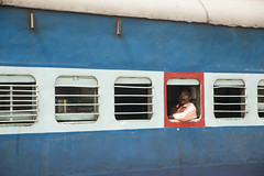 On The Train, Alleppey, Kerala, India-9471 (Steve Weaver) Tags: kerala india alleppey man train transport travel portrait red blue express
