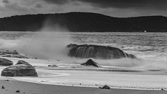 Splashy Seascape with Rocks in Black and White (Merrillie) Tags: daybreak sunrise nature dawn clouds centralcoast morning northpearlbeach sea newsouthwales rocks pearlbeach nsw sky rocky ocean earlymorning landscape australia coastal waterscape outdoors seascape waves coast water seaside