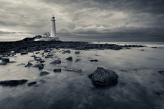 Sanctuary From The Storm (ttarpd) Tags: stmaryslighthouse st marys lighthouse whitley bay bait island tyneside newcastle upon tyne north east tynewear england uk gb britain greatbritain coast sea water rock shore tide causeway seascape landscape le longexposure black white bw blackandwhite blackwhite monochrome mono sunset sundown dusk twilight eventide