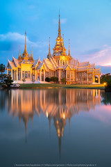 Golden Temple (KRW_GNS) Tags: wat temple korat beautiful background blue thailand art sky water travel architecture building tourism culture asia religion place thai buddhism white popular decoration style light bright landscape outdoor detail traditional sunset reflection