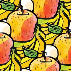 seamless pattern of bananas and apples (Hebstreits) Tags: abstract apple apples art backdrop background banana bananas colorful cute design diet drawing fabric food fresh fruit garden graphic green health healthy illustration juice juicy leaf natural nature organic paper pattern print red repeat seamless season summer sweet tasty textile texture vector vegetarian vitamin wallpaper watercolor white wrapping