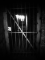 Lost in the dark at a dead end (LUMEN SCRIPT) Tags: blur unsharp softfocus moody atmosphere mysterious eery fence monochrome underground catacomb mood death horror darkness creepy blackwhite darktourism paris cemetery france weird strange macabre wet confined unpleasant heavy lowlight eerie light availablelight shadow shrine heritage history memory remembrance tradition gate spooky