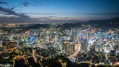 Seoul (Myeong-dong) at night - Seoul, Korea (patuffel) Tags: myeongdong seoul korea night city landscape namsan park lights blue hour