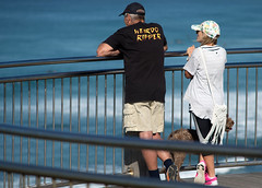 Weirdo Ripper waiting (OzzRod) Tags: pentax k1 smcpentaxk200mmf4 people couple dog watching viewpoint lookout surf fence railing sea waves bokeh singleinmay2018