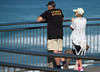 Weirdo Ripper waiting (OzzRod (on the road again)) Tags: pentax k1 smcpentaxk200mmf4 people couple dog watching viewpoint lookout surf fence railing sea waves bokeh singleinmay2018