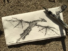 Look to the skies (schunky_monkey) Tags: fountainpen penandink ink pen illustration art drawing draw napkinsketch sketch napkin firebreathing beast creature mythical firebreather dragons dragon