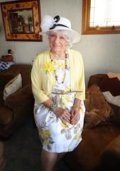 Mom? Grandmother? Aunt? Sister? (Laurette Victoria) Tags: mothersday laurette woman mom hat dress floralprint pose