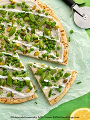 Pea-zza 2 (Bitter-Sweet-) Tags: vegan food healthy vegetarian meatless dairyfree nondairy culturedkitchen cashew coconut fresh easy seasonal savory pizza flatbread bread gluten crust peas green spring vegetables dinner lunch brunch meal slice herbs lemon zest citrus quick recipe