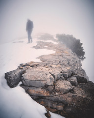 The foggy super woman ? #adventurevisuals #foggyday #mountaintop #nebel #wanderung (volkerrastel) Tags: cliff rock formation wandern hiking mountaintop foggy fog nebel berge