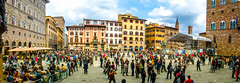 Piazza della Signoria (Tony Shertila) Tags: architecture azura azuracruise buildings city cruise europe florence italy pano people plaza sky tourists