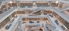 Simple (spiderstreaky) Tags: germany white floor building read books levels library city public architecture floors book stuttgart stairs modern