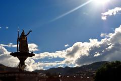 Cuzco (makingacross) Tags: cuzco cusco peru inca empire qusqu plaza de armas clouds statue mountains
