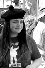 Faces on the Liverpool May March (2) - Bandswoman (ronramstew) Tags: liverpool mersey merseyside uk labour socialist march may day demonstration parade 2018 2010s bandswoman liverpoolirishpatriotsrepublicanfluteband liverpoolirishpatriotsrfb bw blackandwhite