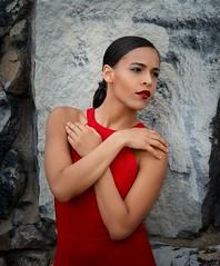Oscany (QuarryClimber) Tags: outdoorportrait naturallight woman female reddress brunette browneyes longhair sonya7riii sony85mmgm portrait pretty beautiful urban city granite
