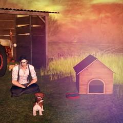 Puppy Break (Loegan Magic) Tags: secondlife openlattecafe outdoors landscape farm puppy